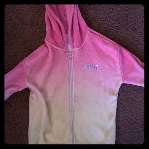 Justice zip up fleece hoodie